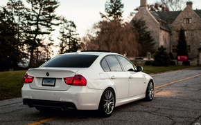 Картинка белый, бмв, BMW, white, седан, E90, 3 серия