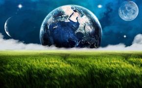 Картинка поле, космос, облака, туман, земля, луна, планеты, месяц, луг