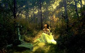 Картинка девушка, свет, крест, Лес, платье