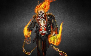 Картинка Призрачный гонщик, ghost rider, скелет, огонь, пламя, череп