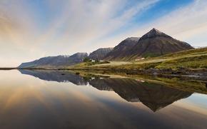 Картинка море, горы, отражение, дома, Исландия, Iceland, Serenity Westfjords