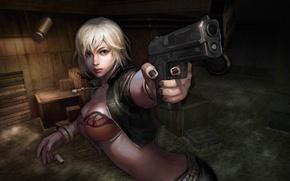 Картинка вода, девушка, темнота, пистолет, ящики, гильзы, online, бюст, Counter Strike