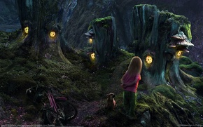 Картинка девочка, собачка, домики пни, сказочный лес