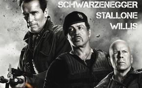 Обои Брюс Уиллис, Bruce Willis, Арнольд Шварценеггер, Сильвестр Сталлоне, Sylvester Stallone, The Expendables 2, Неудержимые 2, ...