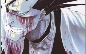 Картинка лицо, кровь, зубы, прическа, капитан, Bleach, Блич, ухмылка, Zaraki Kenpachi, shinigami, чокер, by Tite Kubo