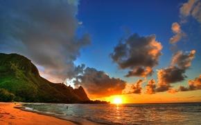 Обои океан, берег, пейзаж, закат
