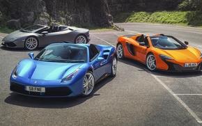 Обои суперкары, McLaren, Lamborghini, Spyder, Ferrari, cars, 488 GTB, Spider, 650S, supercars, Huracan