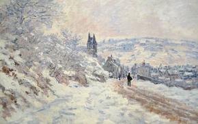 Обои Дорога в Ветей. Снежный Эффект, пейзаж, зима, снег, картина, Клод Моне