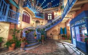 Картинка дизайн, город, фото, HDR, интерьер, фонари, Калифорния, лестница, США, гирлянда, Диснейленд
