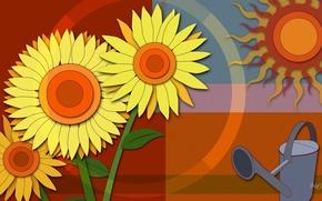 Картинка солнце, цветы, коллаж, вектор, лейка