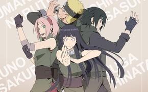 Картинка аниме, Сакура, арт, Саске, Наруто, Naruto, Хината
