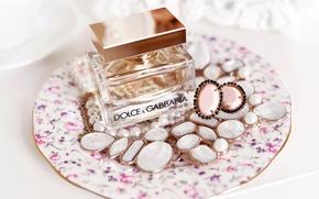 Картинка камни, серьги, тарелка, бусы, бутылочка, парфюм, Dolce & Gabbana, The One