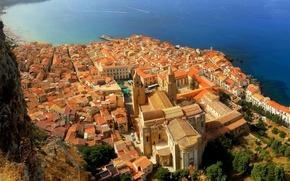 Картинка море, скалы, побережье, дома, крыши, Италия, панорама, Sicily, Cefalu