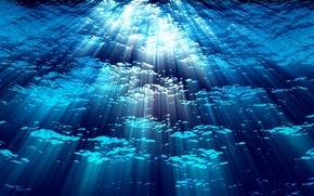 Картинка вода, синий, фон, глубина, лучи света