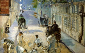 Обои улица, картина, рабочие, ремонт, городской пейзаж, Эдуард Мане, The Street Mosnier with the Pavers