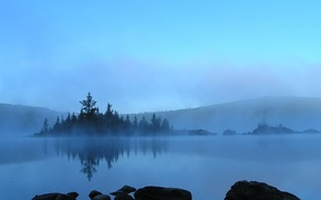 Обои туман, деревья, вода, синий, камни