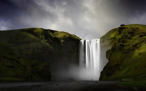 Картинка природа, водопад, Исландия, Скоугафосс, река Скоугау