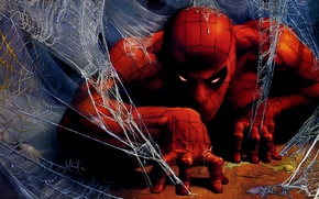 Картинка fantasy, Marvel, comics, artwork, superhero, costume, drawing, Peter Parker, Spider Man, spiderwebs, fantasyart