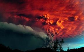 Картинка деревья, пепел, Вулкан, извержение, красное небо