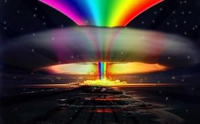 Обои Nuclear, радуга, rainbow, explosion, взрыв