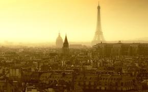 Картинка крыша, небо, страны, города, улица, эйфелева башня, окна, париж, дома, утро, крыши, окно, франция, улицы, …