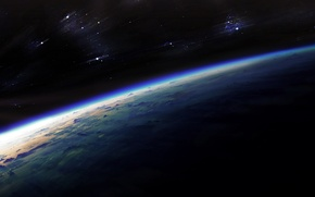Обои Земля, сияние, мрак, планета, звезды