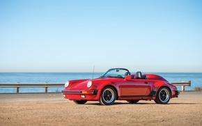 Картинка car, 911, Porsche, red, cabrio, Speedster, 1989
