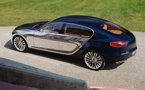 Картинка машина, Bugatti, синяя, зеркальная