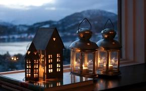 Картинка город, лампы, настроение, вечер, свечи, окно