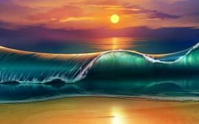 Картинка море, волны, пляж, закат, waves, beach, sea, sunset