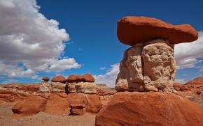 Картинка небо, облака, камни, скалы, пирамида