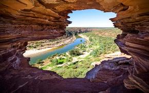 Обои река, скалы, Австралия, Национальный парк Калбарри