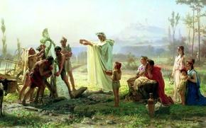 Картинка люди, картина, статуя, живопись, холст, обряд, жертвоприношение, Бронников, освещение гермы