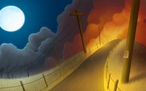 Картинка дорога, ночь, луна, столб, арт