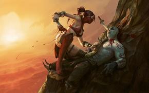 Картинка девушка, оружие, скалы, кровь, арт, мужчина, mortal kombat, scarlet, gore, quan chi