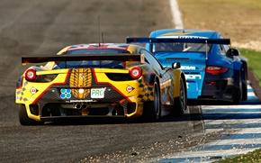 Картинка 911, Porsche, Феррари, Ferrari, Порше, 458, вид сзади, Italia, гоночный болид, GTC