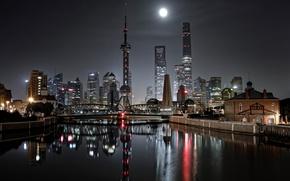 Картинка огни, Китай, мост, ночь, город, Шанхай
