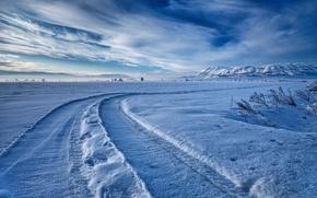 Картинка зима, снег, горы, путь