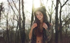 Картинка взгляд, девушка, улыбка, пирсинг, тату, Girl, smile, tattoo, piercing