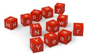 Картинка минимализм, happy new year, кубики, с новым годом