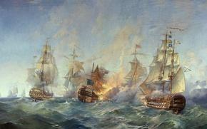 Картинка Сражение, Парусники, Корабли, Флот