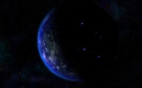Обои черное, планета, космос