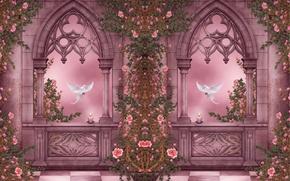 Картинка цветы, окна, розы, свечи, голуби, колонны, арки, гирлянды, flowers, roses, candles, doves, columns, arches, pigeons, ...
