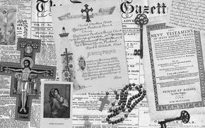Картинка desktop, holy, cross, key, black and white, paper, Jesus, document, newspaper