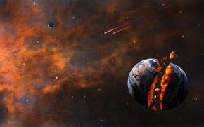 Картинка explosion, stars, planet, Sci Fi, Sci FI, spacecraft