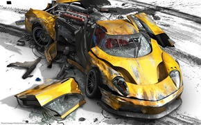 Обои разбита, Burnout Paradise, катастрофа, желтый, авария
