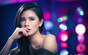 Картинка девушка, модель, азиатка, боке