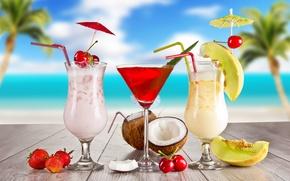 Обои strawberry, glasses, food, fruits, cocktail, cherry, коктейль, cocktails, summer, melon, лето, coconut