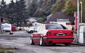 Картинка BMW, red, tuning, E34, 532i