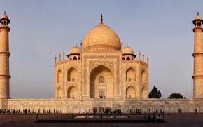 Картинка Индия, Тадж-Махал, памятник, мрамор, архитектура, Агра, Taj Mahal, Джамна, Agra, India, Великие Моголы, Мумтаз-Махал, мавзолей-мечеть, ...